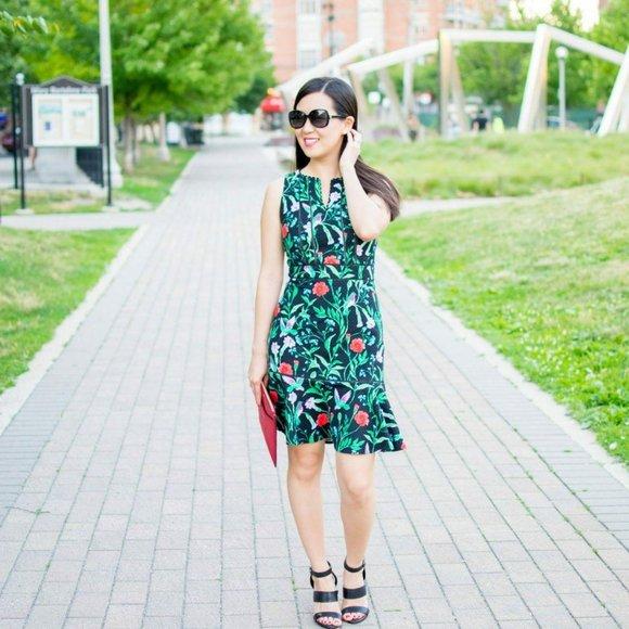 Kate Spade Jardin Tile Tropical Floral Dress